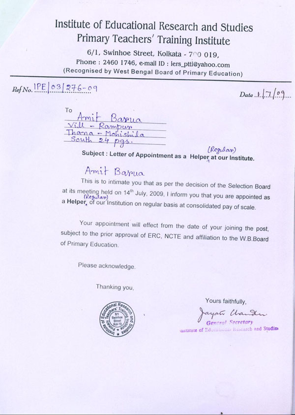 doctor appointment letter